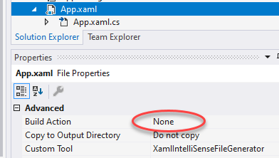 Screenshot Visual Studio App.xaml Build Action