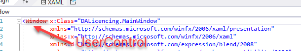 Screenshot Visual Studio MainWindow.xaml auf UserControl ändern