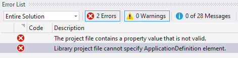 Screenshot Visual Studio Error List shows project file contains a property value that is not valid