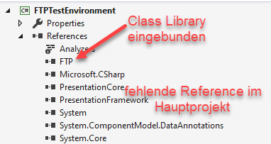 Screenshot Visual Studio Solution Explorer: Application Projekt mit Class-Library ohne Assembly-Referenz