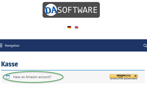 Screenshot WooCommerce Kasse Have an Amazon account